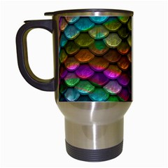 Fish Scales Pattern Background In Rainbow Colors Wallpaper Travel Mugs (white) by Nexatart