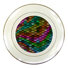 Fish Scales Pattern Background In Rainbow Colors Wallpaper Porcelain Plates by Nexatart