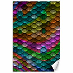 Fish Scales Pattern Background In Rainbow Colors Wallpaper Canvas 24  X 36  by Nexatart