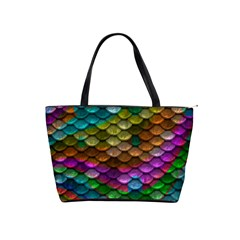 Fish Scales Pattern Background In Rainbow Colors Wallpaper Shoulder Handbags by Nexatart