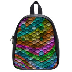 Fish Scales Pattern Background In Rainbow Colors Wallpaper School Bags (small)  by Nexatart