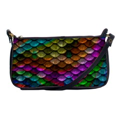 Fish Scales Pattern Background In Rainbow Colors Wallpaper Shoulder Clutch Bags by Nexatart