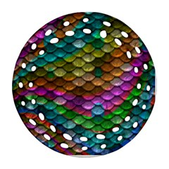 Fish Scales Pattern Background In Rainbow Colors Wallpaper Ornament (round Filigree) by Nexatart