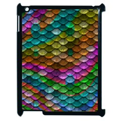 Fish Scales Pattern Background In Rainbow Colors Wallpaper Apple Ipad 2 Case (black) by Nexatart