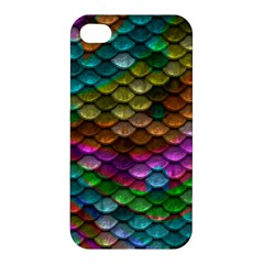 Fish Scales Pattern Background In Rainbow Colors Wallpaper Apple Iphone 4/4s Hardshell Case by Nexatart