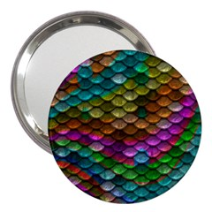 Fish Scales Pattern Background In Rainbow Colors Wallpaper 3  Handbag Mirrors by Nexatart