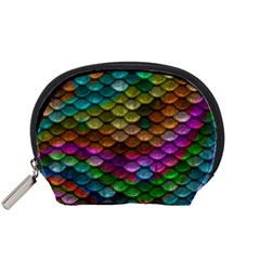 Fish Scales Pattern Background In Rainbow Colors Wallpaper Accessory Pouches (small)  by Nexatart