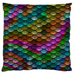 Fish Scales Pattern Background In Rainbow Colors Wallpaper Large Flano Cushion Case (two Sides) by Nexatart