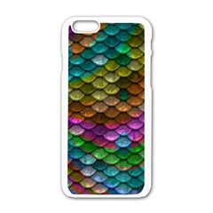 Fish Scales Pattern Background In Rainbow Colors Wallpaper Apple Iphone 6/6s White Enamel Case by Nexatart