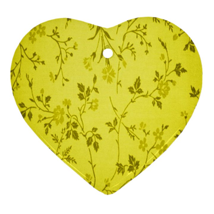 Flowery Yellow Fabric Ornament (Heart)