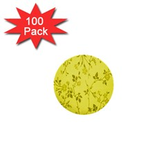 Flowery Yellow Fabric 1  Mini Buttons (100 Pack)  by Nexatart