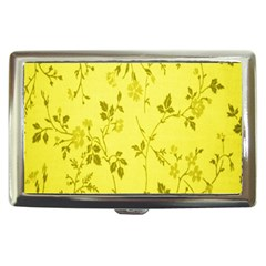 Flowery Yellow Fabric Cigarette Money Cases by Nexatart