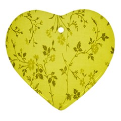 Flowery Yellow Fabric Heart Ornament (two Sides)