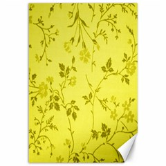 Flowery Yellow Fabric Canvas 12  X 18