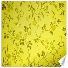 Flowery Yellow Fabric Canvas 16  X 16   by Nexatart