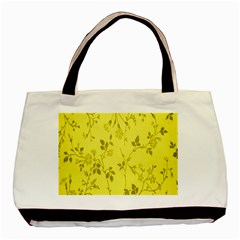 Flowery Yellow Fabric Basic Tote Bag (two Sides) by Nexatart