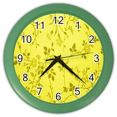 Flowery Yellow Fabric Color Wall Clocks