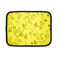 Flowery Yellow Fabric Netbook Case (small)  by Nexatart