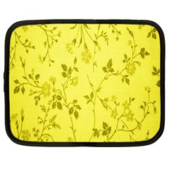 Flowery Yellow Fabric Netbook Case (large) by Nexatart