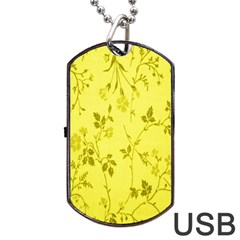 Flowery Yellow Fabric Dog Tag Usb Flash (two Sides) by Nexatart