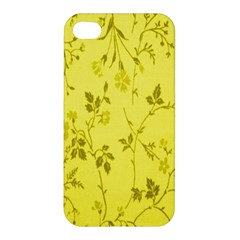 Flowery Yellow Fabric Apple Iphone 4/4s Premium Hardshell Case