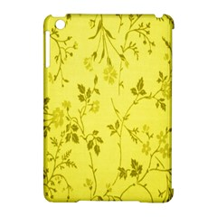 Flowery Yellow Fabric Apple Ipad Mini Hardshell Case (compatible With Smart Cover) by Nexatart