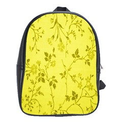 Flowery Yellow Fabric School Bags (xl)  by Nexatart