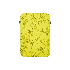 Flowery Yellow Fabric Apple Ipad Mini Protective Soft Cases by Nexatart