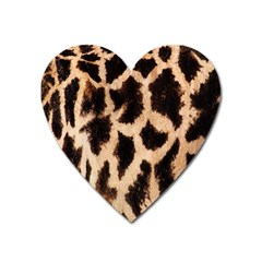 Giraffe Texture Yellow And Brown Spots On Giraffe Skin Heart Magnet by Nexatart