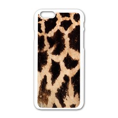 Giraffe Texture Yellow And Brown Spots On Giraffe Skin Apple Iphone 6/6s White Enamel Case by Nexatart