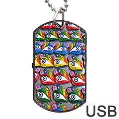 The Eye Of Osiris As Seen On Mediterranean Fishing Boats For Good Luck Dog Tag Usb Flash (two Sides) by Nexatart