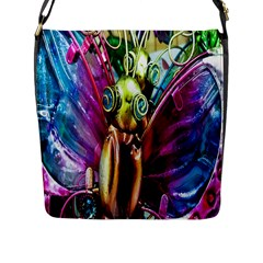 Magic Butterfly Art In Glass Flap Messenger Bag (l)  by Nexatart