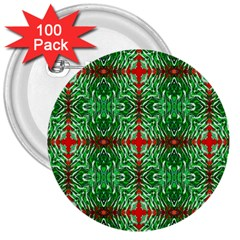 Geometric Seamless Pattern Digital Computer Graphic 3  Buttons (100 Pack)