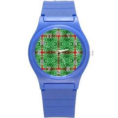 Geometric Seamless Pattern Digital Computer Graphic Round Plastic Sport Watch (s) by Nexatart