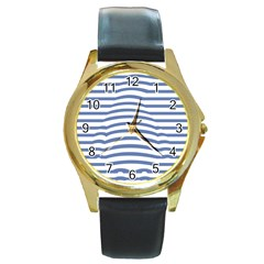 Animals Illusion Penguin Line Blue White Round Gold Metal Watch by Mariart