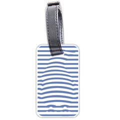 Animals Illusion Penguin Line Blue White Luggage Tags (one Side)  by Mariart