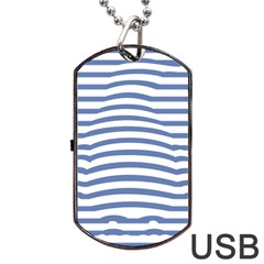 Animals Illusion Penguin Line Blue White Dog Tag Usb Flash (two Sides) by Mariart