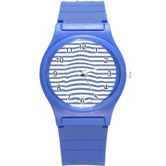 Animals Illusion Penguin Line Blue White Round Plastic Sport Watch (s) by Mariart