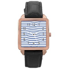 Animals Illusion Penguin Line Blue White Rose Gold Leather Watch  by Mariart