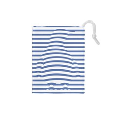 Animals Illusion Penguin Line Blue White Drawstring Pouches (small)  by Mariart