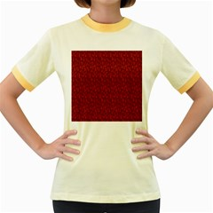 Bicycle Guitar Casual Car Red Women s Fitted Ringer T Shirts