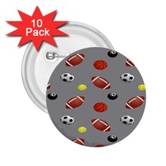 Balltiled Grey Ball Tennis Football Basketball Billiards 2 25  Buttons (10 Pack)