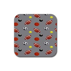 Balltiled Grey Ball Tennis Football Basketball Billiards Rubber Square Coaster (4 Pack)  by Mariart