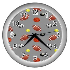 Balltiled Grey Ball Tennis Football Basketball Billiards Wall Clocks (silver)  by Mariart