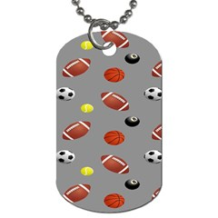 Balltiled Grey Ball Tennis Football Basketball Billiards Dog Tag (two Sides) by Mariart