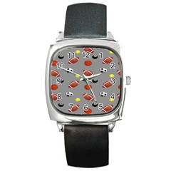 Balltiled Grey Ball Tennis Football Basketball Billiards Square Metal Watch by Mariart