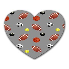 Balltiled Grey Ball Tennis Football Basketball Billiards Heart Mousepads by Mariart