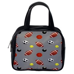 Balltiled Grey Ball Tennis Football Basketball Billiards Classic Handbags (one Side) by Mariart