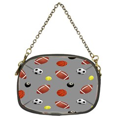 Balltiled Grey Ball Tennis Football Basketball Billiards Chain Purses (two Sides)  by Mariart
