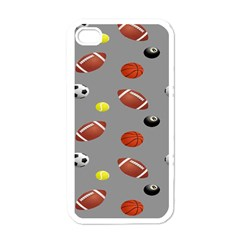 Balltiled Grey Ball Tennis Football Basketball Billiards Apple Iphone 4 Case (white) by Mariart